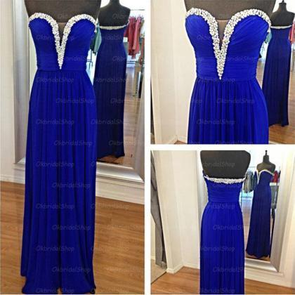 royal blue prom dresses, rhinestone..