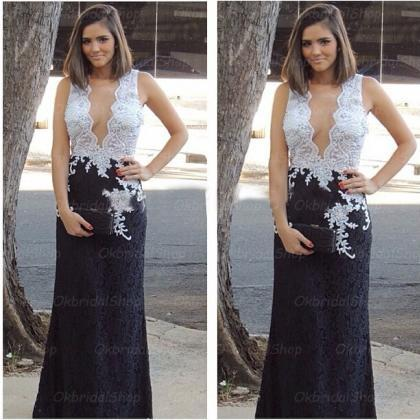 white and black prom dresses, lace ..