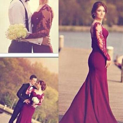Long Sleeve Prom Dresses, Red Wine Prom Dress, Mermaid Prom ...