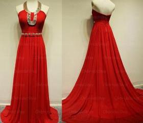 red prom dresses, halter prom dresses, chiffon prom dresses, 2015 prom dresses, affordable prom dresses, dresses for prom, CM165