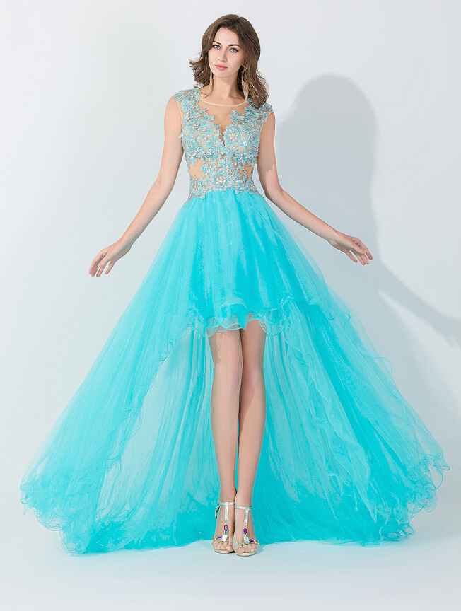 High Low Prom Dresses, Tiffany Blue Prom Dresses, Tulle Prom ...