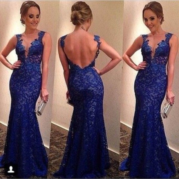 Lace Mermaid Prom Dresses, Backless Prom Dress, Sexy Prom Dresses ...
