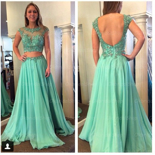 2 Piece Prom Dresses, Green Lace Prom Dress, Unique Prom Dresses ...
