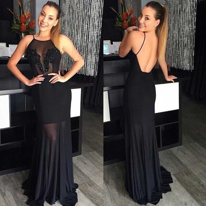 Sexy Backless Black Prom Dresses, 2017 See Through Prom Dress, Sexy Long Prom Dress, Black Evening Dresses, Black Prom Dress, Unique prom dress, CM1113