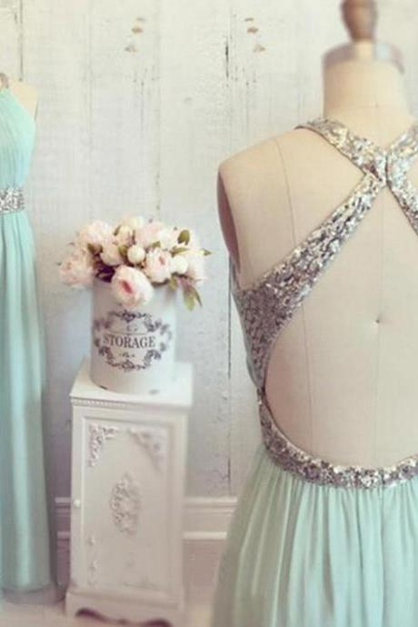 Mint backless prom dresses, halter prom dresses, long prom dresses, prom dresses online, 2016 prom dresses, party dress, PM676