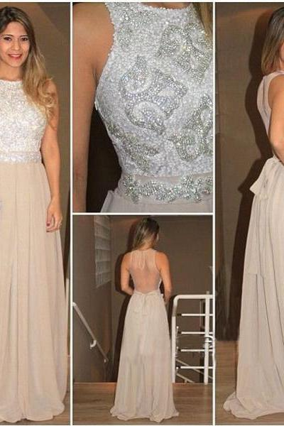 See through Prom Dress, Sequin Prom Dress, Chiffon Prom Dress, 2016 Prom Dress, Sexy Prom Dress, Gorgeous prom dress, CM775