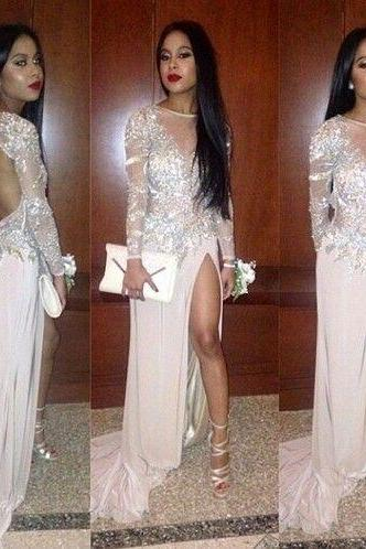 Long sleeve Prom Dresses, Sexy Prom Dress, See through Prom Dress, 2016 Prom Dress, dresses for prom, fashion prom dress, unique prom dress. CM780