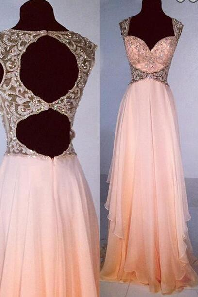 Open back Prom Dress, Pink Prom Dress, Chiffon Prom Dress, 2016 Prom Dress, Sexy Prom Dress, Gorgeous prom dress, CM786