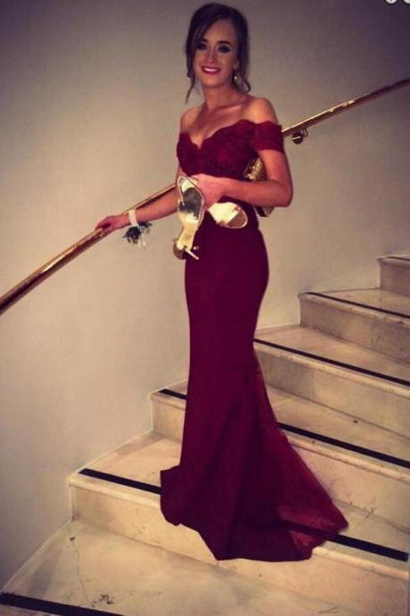 Red mermaid Prom Dresses, off shoulder Prom Dress, Long Prom Dress, 2016 Prom Dress, dresses for prom, fashion prom dress, unique prom dress. CM790