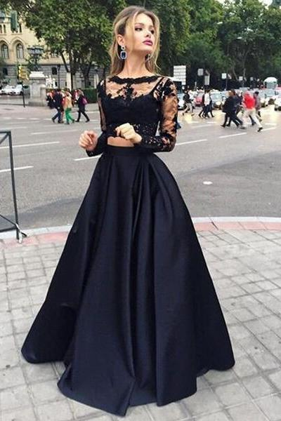 2 pieces Prom Dresses, Sexy Prom Dress, long sleeve Prom Dress, Black Prom Dress, dresses for prom, fashion prom dress, unique prom dress. CM801