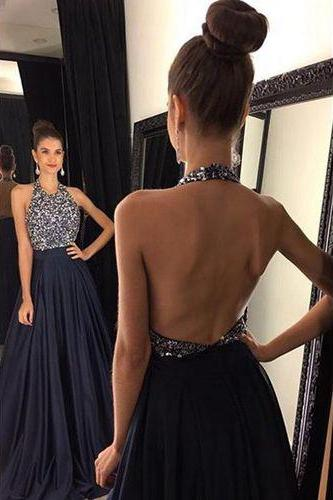 Halter backless Prom Dress, Sexy prom Dress, Navy Prom Dress, dresses for Prom, custom prom dresses 2016, cheap prom dresses, CM847