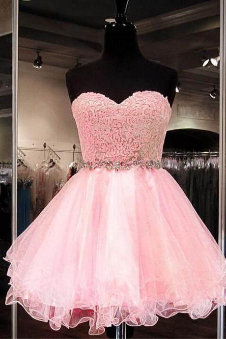 Custom Made Pink Sweetheart Neckline Lace and Organza Jewel Embellished Short Evening Dress, Formal Dress, Weddings, Homecoming Dress