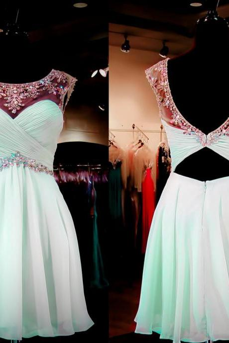 Open back homecoming dress, Mint Green homecoming dress, short homecoming dresses, 2016 homecoming dress, short prom dresses, CM914