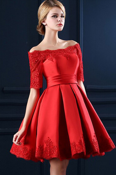Custom Made Red Off-Shoulder Satin and Lace 3/4 Long Sleeve Evening Dress, Formal Dress, Weddings, Homecoming Dress