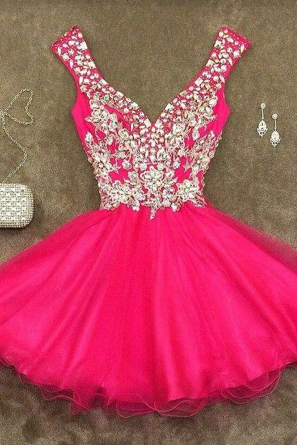 Off shoulder Rhinestone homecoming dress, Hot Pink homecoming dress, short homecoming dresses, 2016 homecoming dress, short prom dresses, homecoming dresses, CM1019
