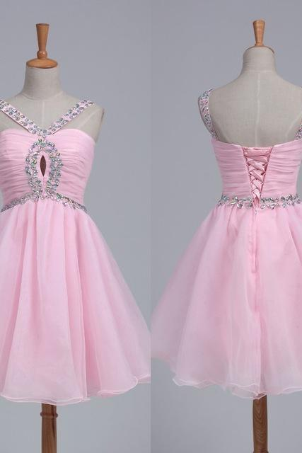 Pink Beaded homecoming dress, 2016 homecoming dress, short homecoming dresses, 2016 homecoming dress, short prom dresses, homecoming dress, CM1034