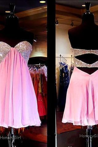 Chiffon Pink homecoming dress, Beaded Sequin homecoming dress, short homecoming dresses, 2016 homecoming dress, short prom dresses, homecoming dresses, CM1042