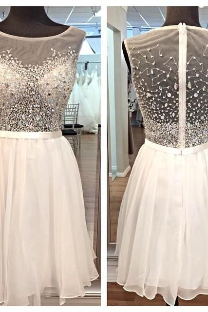 Sexy White homecoming dress, See Through homecoming dress, short homecoming dresses, 2016 homecoming dress, short prom dresses, homecoming dresses, CM1043