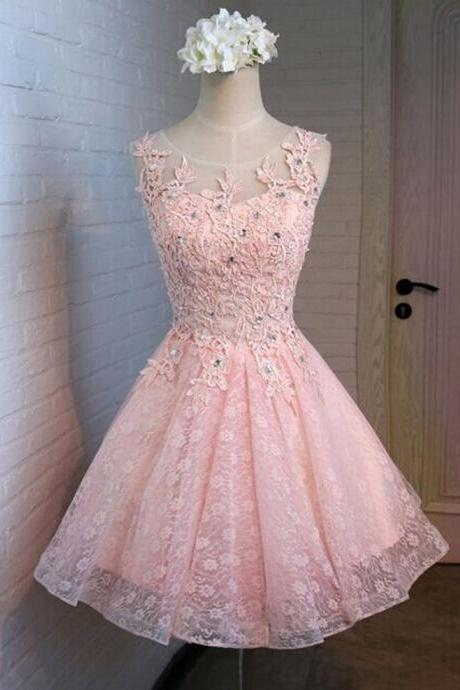 Pink Lace homecoming dress, 2016 Short homecoming dress, short homecoming dresses, 2016 homecoming dress, short prom dresses, homecoming dress, CM1044