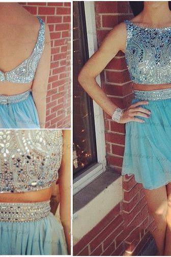2 pieces Blue homecoming dress, Sexy Rhinestone homecoming dress, short homecoming dresses, 2016 homecoming dress, short prom dresses, homecoming dress, CM1049