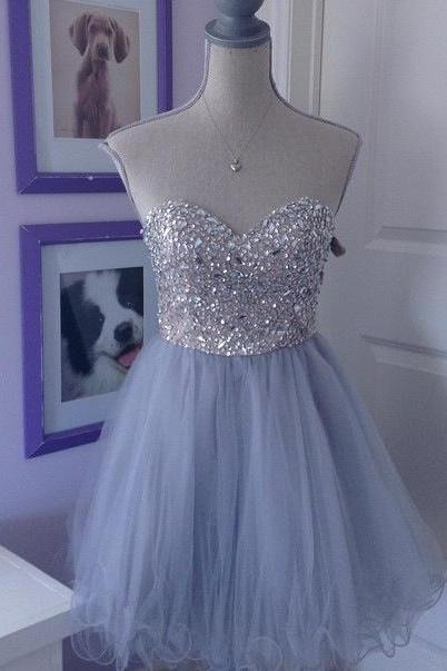 Grey Tulle homecoming dress, Beaded homecoming dress, short homecoming dresses, 2016 homecoming dress, short prom dresses, homecoming dresses, CM1051