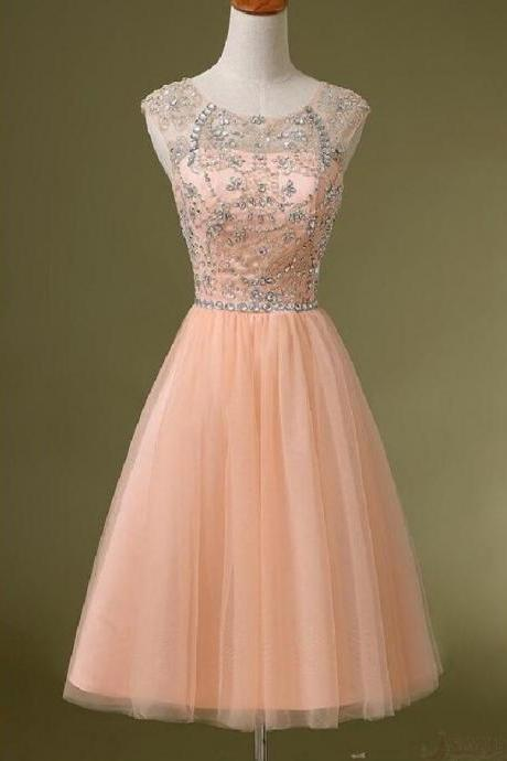 Peach beaded homecoming dress, See through homecoming dress, short homecoming dresses, 2016 homecoming dress, short prom dresses, homecoming dress, CM1068