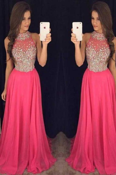 Hot Pink Halter Evening Prom Dresses, 2017 Long Beaded Prom Dress, Custom Long Prom Dress, Cheap Party Prom Dress, Formal Prom Dress, 17037