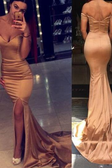 Off Shoulder Simple Mermaid Evening Prom Dresses, Sexy Slit Party Prom Dress, Custom Long Prom Dresses, Cheap Formal Prom Dresses, 17084