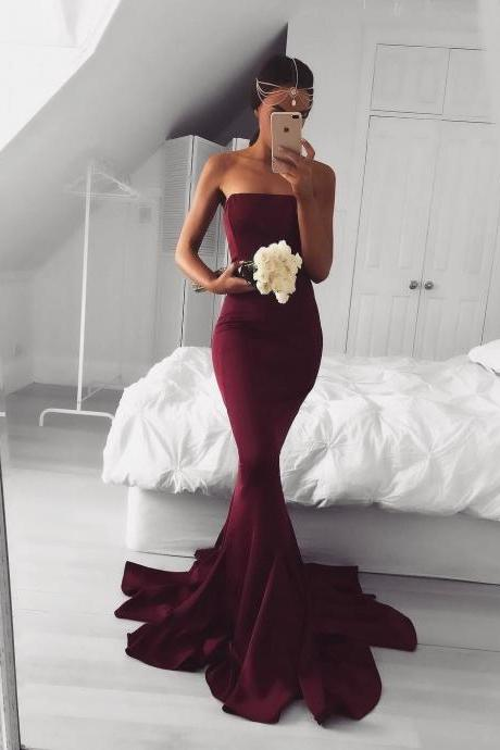 Strapless Maroon Mermaid Evening Prom Dresses, Long Simple Party Prom Dress, Custom Long Prom Dresses, Cheap Formal Prom Dresses, 17123