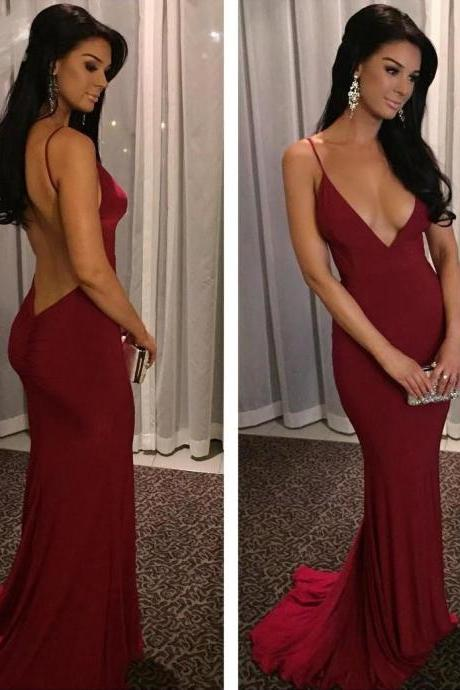 Dark Red Sexy Mermaid Evening Prom Dresses, Long Backless Party Prom Dress, Custom Long Prom Dresses, Cheap Formal Prom Dresses, 17124