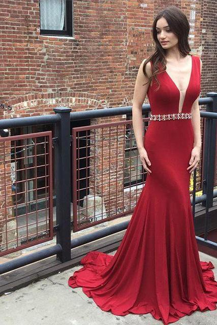 Deep V Neckline Mermaid Evening Prom Dresses, Long Backless Sexy Party Prom Dress, Custom Long Prom Dresses, Cheap Formal Prom Dresses, 17126