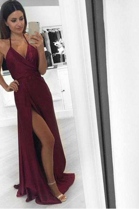 Halter V Neckline Maroon Evening Prom Dresses, Long Side Slit Sexy Party Prom Dress, Custom Long Prom Dresses, Cheap Formal Prom Dresses, 17128