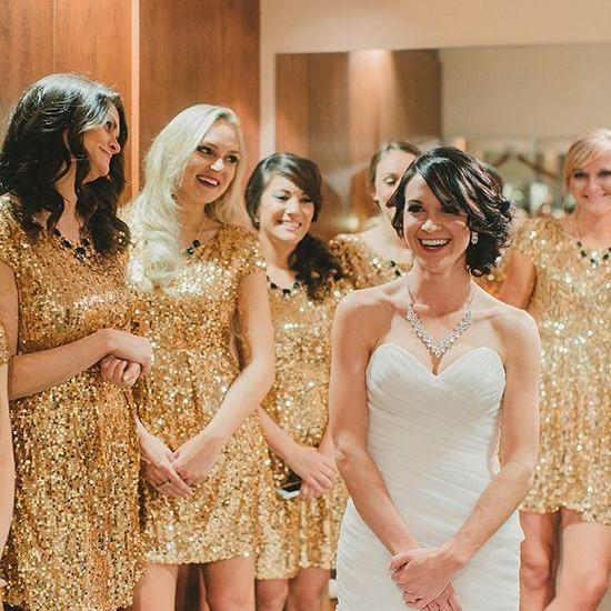 Short Sequin Bridesmaid Dresses Gold Dress Dre On Luulla