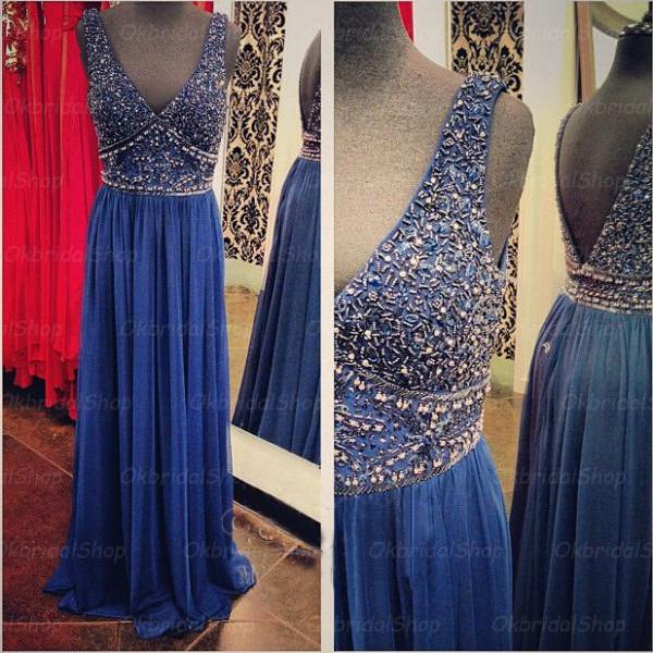 Off shoulder prom dresses, beaded prom dress, blue prom dress, chiffon prom dresses, custom prom dresses, 2015 prom dresses, sexy prom dresses, dresses for prom, CM380