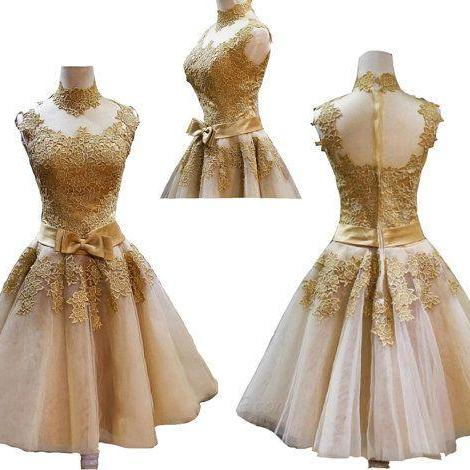 Gold lace homecoming dress, Open back homecoming dress, short homecoming dresses, 2016 homecoming dress, short prom dresses, homecoming dress, CM953