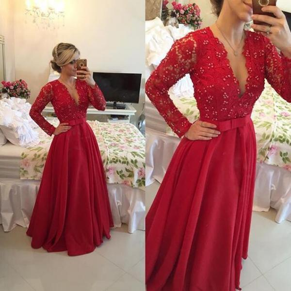 Long Sleeve Red Lace Prom Dresses, Long Open Back Prom Dress, Red Evening Prom Dress, Long Evening Prom Dress, dresses for prom, fashion prom dress, unique prom dress. CM1109