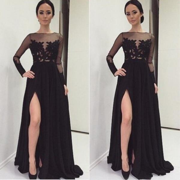 Long Sleeve Black Lace Prom Dresses, Sexy See Through Prom Dress, Black Slit Evening Prom Dress, Long Evening Prom Dress, dresses for prom, fashion prom dress, unique prom dress. CM1110