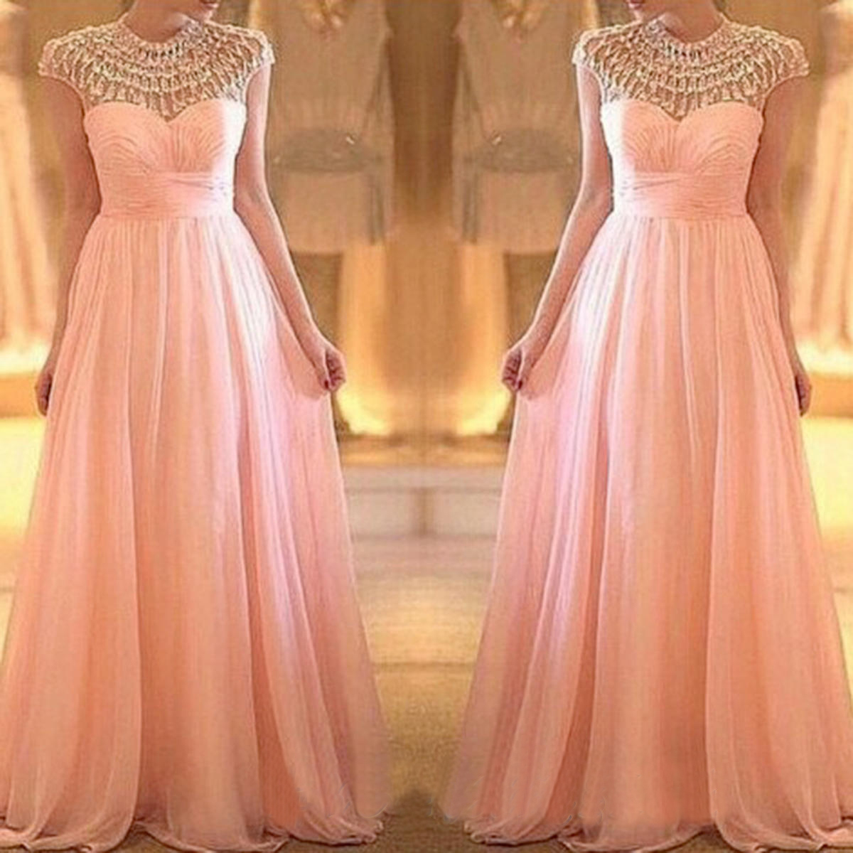 Modest Prom Dresses Blush Pink Prom Dress Long Prom