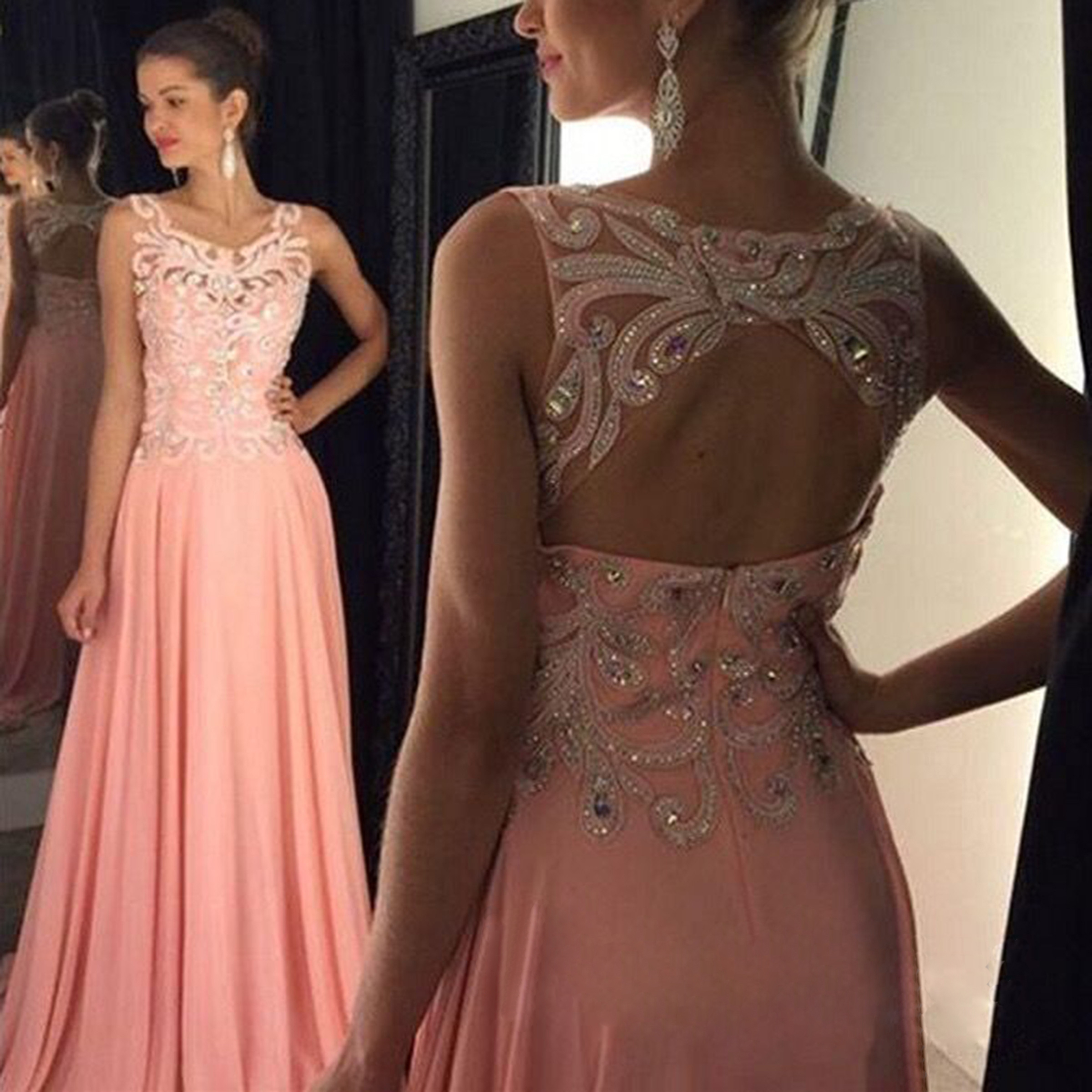 Wedding Long Formal Dress blush pink open back prom dresses sexy see through dress long 2016 for fashion dre