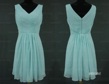 Tiffany blue dress chiffon bridesmaid dresses short for Cheap wedding dresses in ct